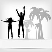 Abstract background jump girl silhouette — Stock Photo
