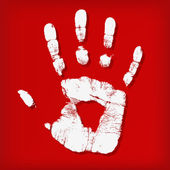 Abstract hand print on a red background — Stock Photo