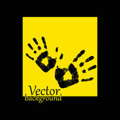 Abstract hand print on a yellow background — Photo