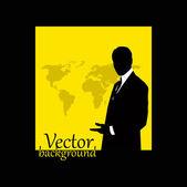 Podnikatel silueta s mapou světa — Stock fotografie