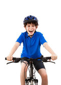 Cyclist isolated on white background — Stock Photo