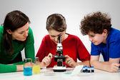Dzieci badania preparatu pod mikroskopem — Zdjęcie stockowe