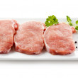 Fresh raw pork on white background — Stock Photo