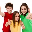 Kids showing OK sign isolated on white background — Stok fotoğraf