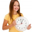 Girl holding wall-clock isolated on white background — Stock Photo #11835191