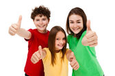 Kids showing OK sign isolated on white background — Foto de Stock