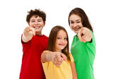 Kids pointing isolated on white background — Stock Photo
