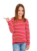 Girl pointing isolated on white background — Stock Photo