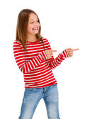 Girl pointing isolated on white background — Stock Photo