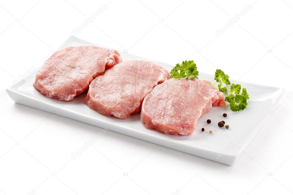 Fresh raw pork on white background — Stock Photo #11835070