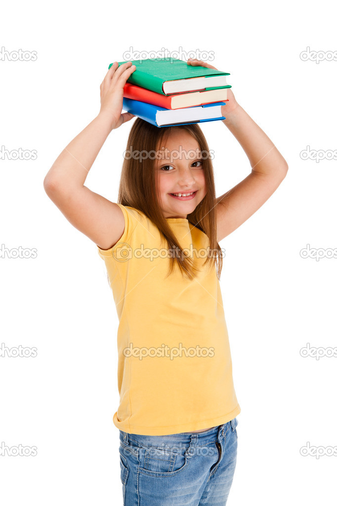 Girl holding books isolated on white background  Stock Photo #11835185