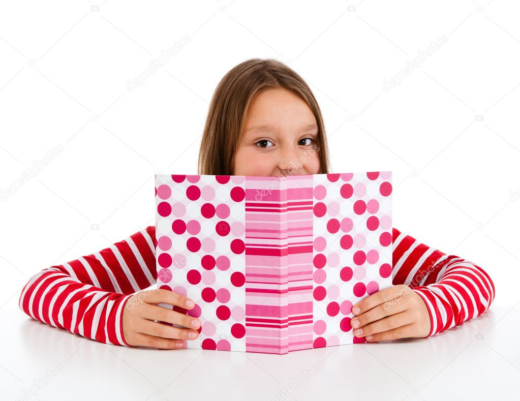 Girl learning isolated on white background — Stock Photo #11835260