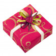 Stock Photo: Beautiful pink box with tape and heart for gifts isolated on whi