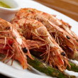 Shrimps with asparagus - Stock Photo