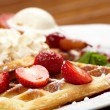 Waffles with strawberry - Stock Photo