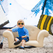 Adorable kiteboarder boy in the chair — Foto de Stock