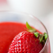 Panna cotta dessert with strawberry sirup - Stockfoto