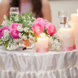 Flowers - tables set for wedding — Foto de Stock