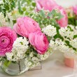 Flowers - tables set for wedding — Stock Photo