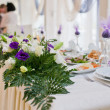 Flowers - tables set for wedding — Stok fotoğraf