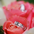 Wedding rings on the flowers - Stok fotoraf