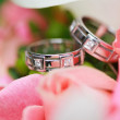 Wedding rings on the flowers — Stock Photo