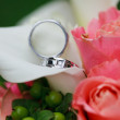 Wedding rings on the flowers — Stock fotografie