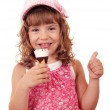 Happy little girl with ice cream and thumb up — Stock Photo #11860037