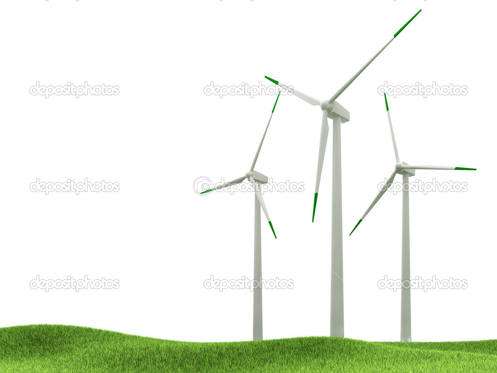 Wind turbines isolated on white background — Stock Photo #11466750