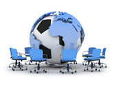 Abstract illustration - soccer ball, earth globe and office chai — Stok fotoğraf