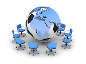 Abstract illustration - soccer ball, earth globe and office chai — Stock Photo