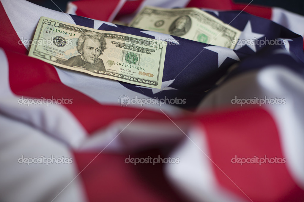 US dollars on a flag. American economy concept  Stock Photo #12068088