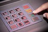 ATM machine keypad numbers, entering Pin code — Stock Photo