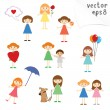 Stock Vector: Little Girls