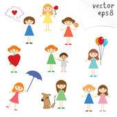 Little Girls — Stock Vector