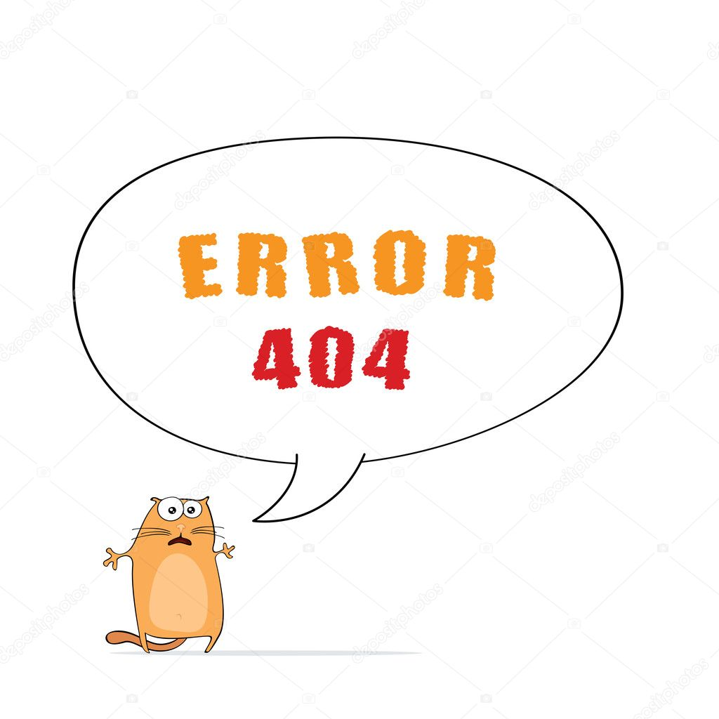 "Vector page ""Error 404"" for web design with funny cartoon cat — Stock Vector #10943686"