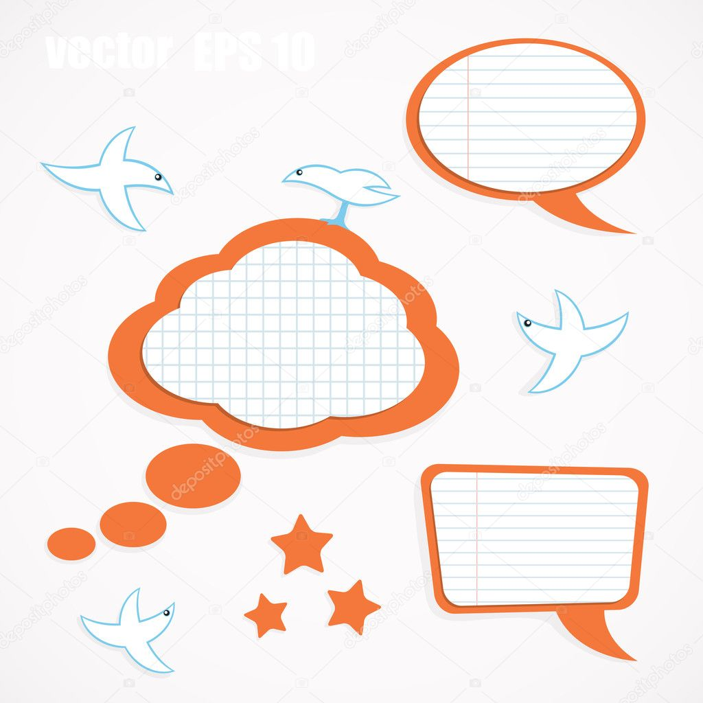 Vector set of speech bubbles and birds — Stock Vector #11058460