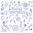 Notebook Doodles of Floral Elements — Vettoriale Stock #11401496