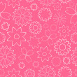 Stock Vector: Pink Flowers Seamless Pattern