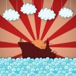 Stock Vector: Retro poster of battleship