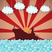 Retro poster van slagschip — Stockvector