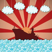 Retro poster of battleship — Stock Vector