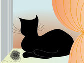 Vector card with cat — Stock Vector