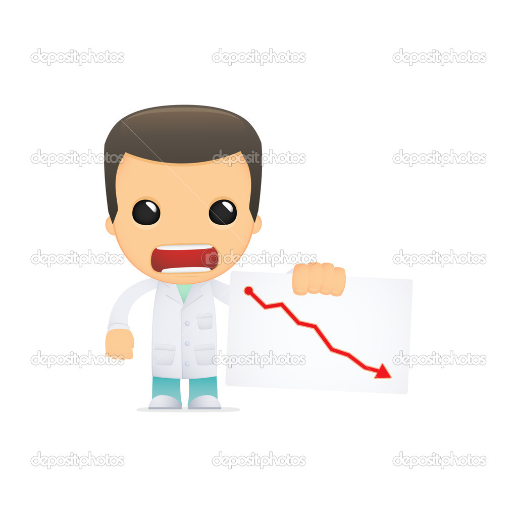 Funny cartoon doctor in various poses for use in advertising, presentations, brochures, blogs, documents and forms, etc. — Stock Vector #10823468