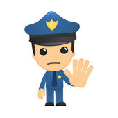 Funny cartoon policeman — Vector de stock
