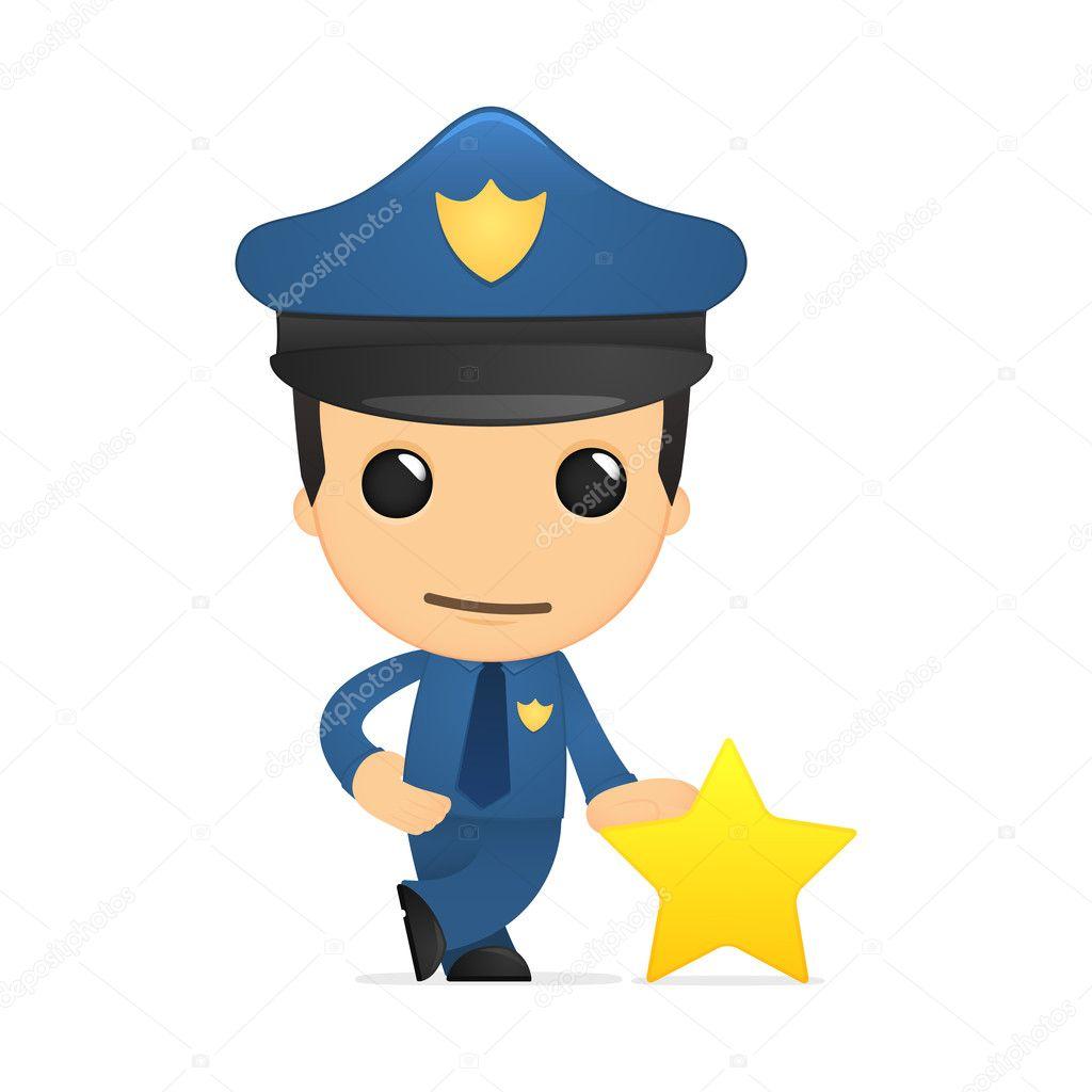 可爱的卡通警察