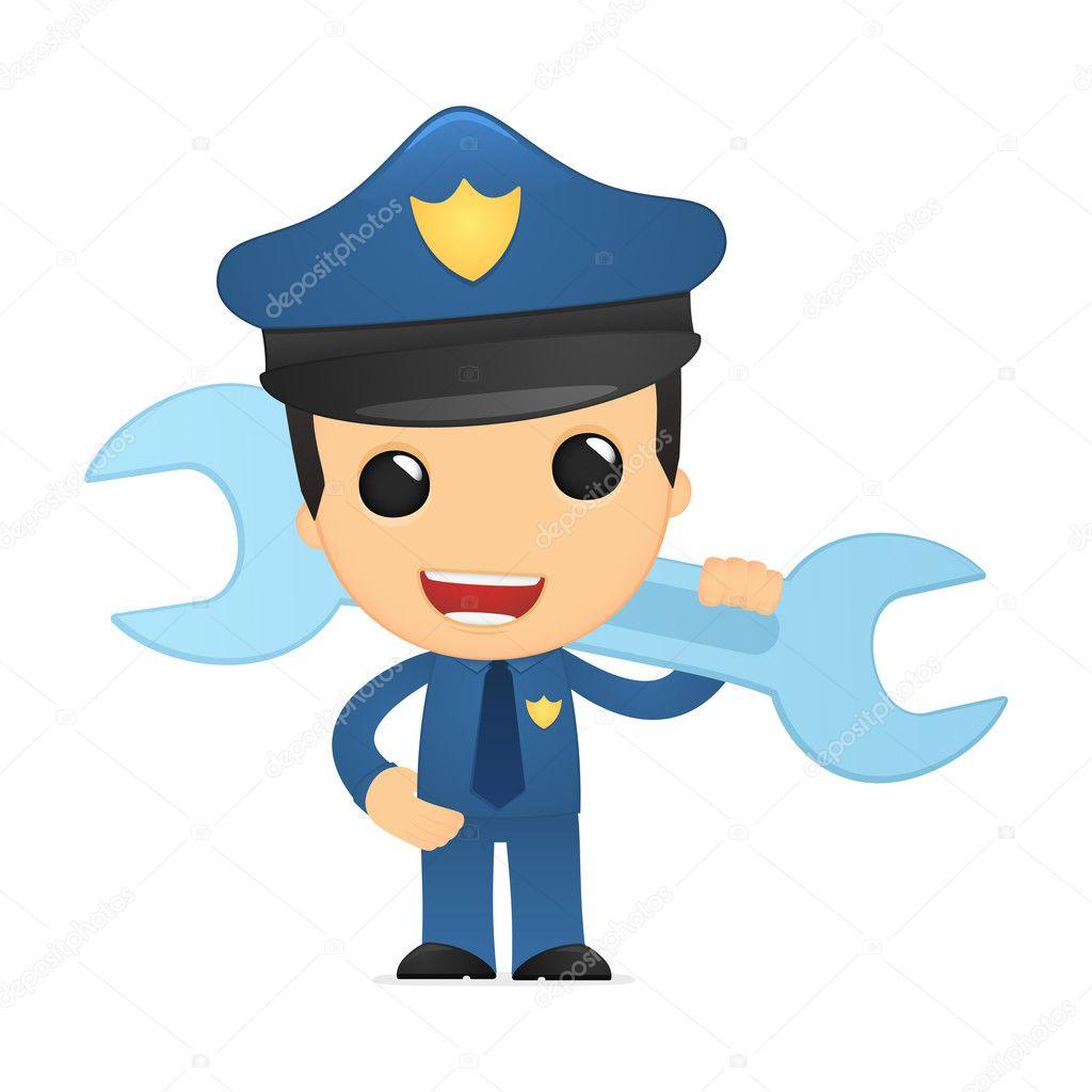 可爱的卡通警察 — 图库矢量图片