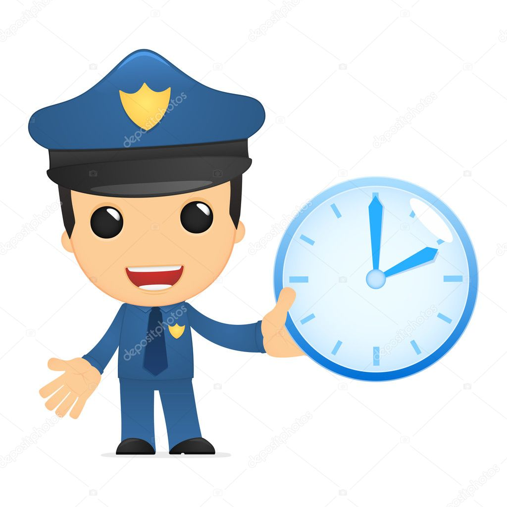 Funny cartoon policeman in various poses for use in advertising, presentations, brochures, blogs, documents and forms, etc. — Stock Vector #10924619