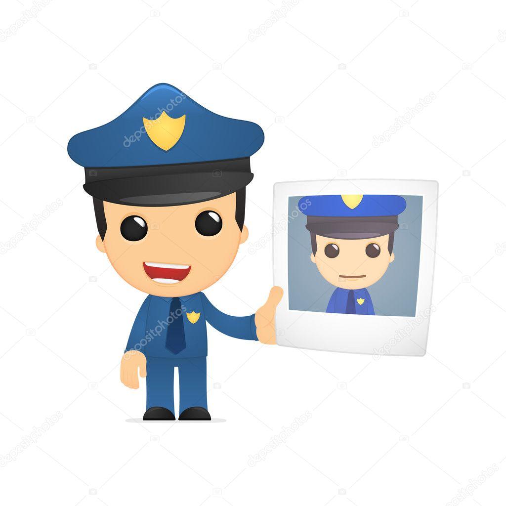 可爱的卡通警察,两种颜色