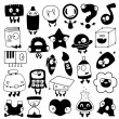 Set of cartoon school objects silhouettes - Stock Vector